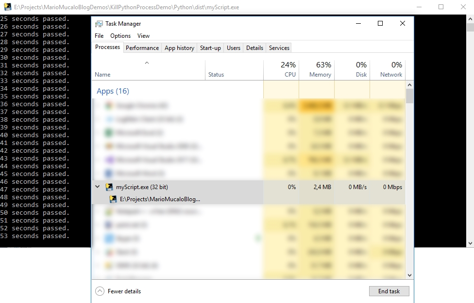 Task manager screenshot after the KillProcess method has ran