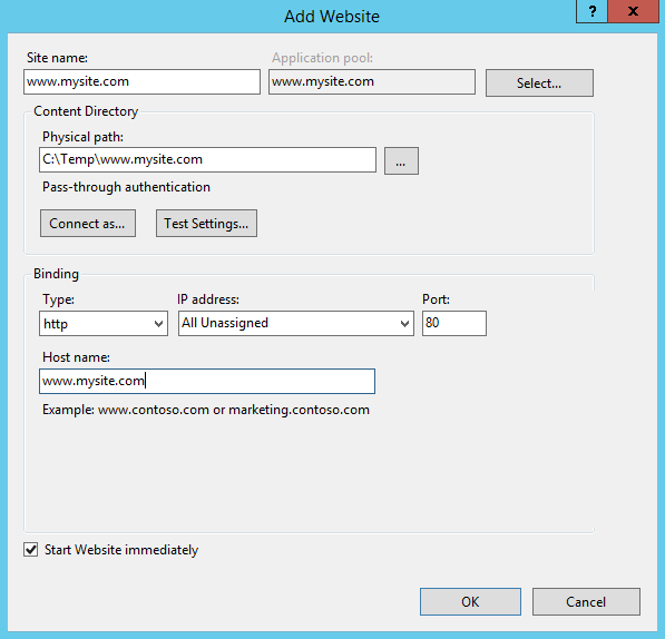 Add a new website in IIS 8.5