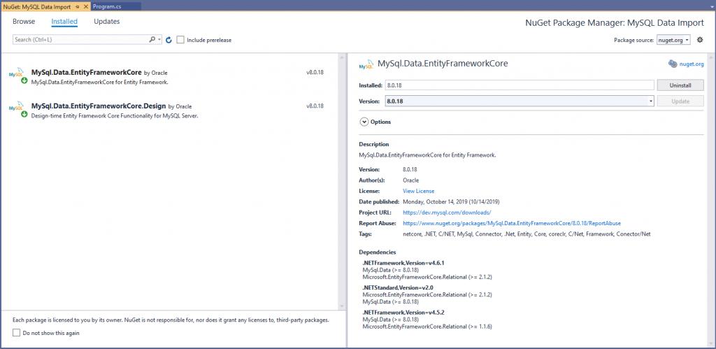MySQL.Data.EntityFrameworkCore NuGet packages