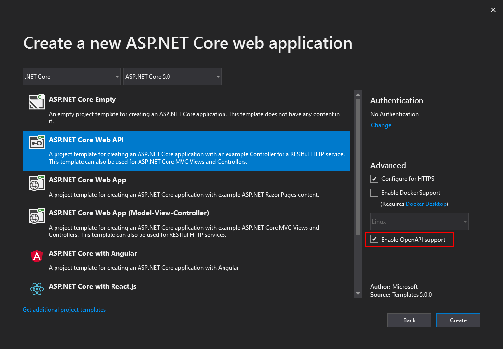 ASP.NET Core API template - OpenAPI support