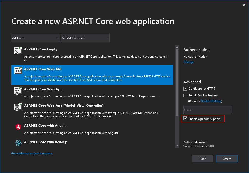 ASP.NET Core API template - OpenAPI support